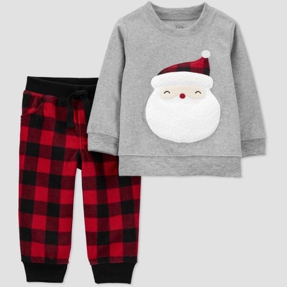 J.o.y by carters plaid Santa sweater & pants